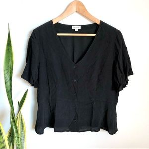 Frank and Oak Button Up Blouse in Black